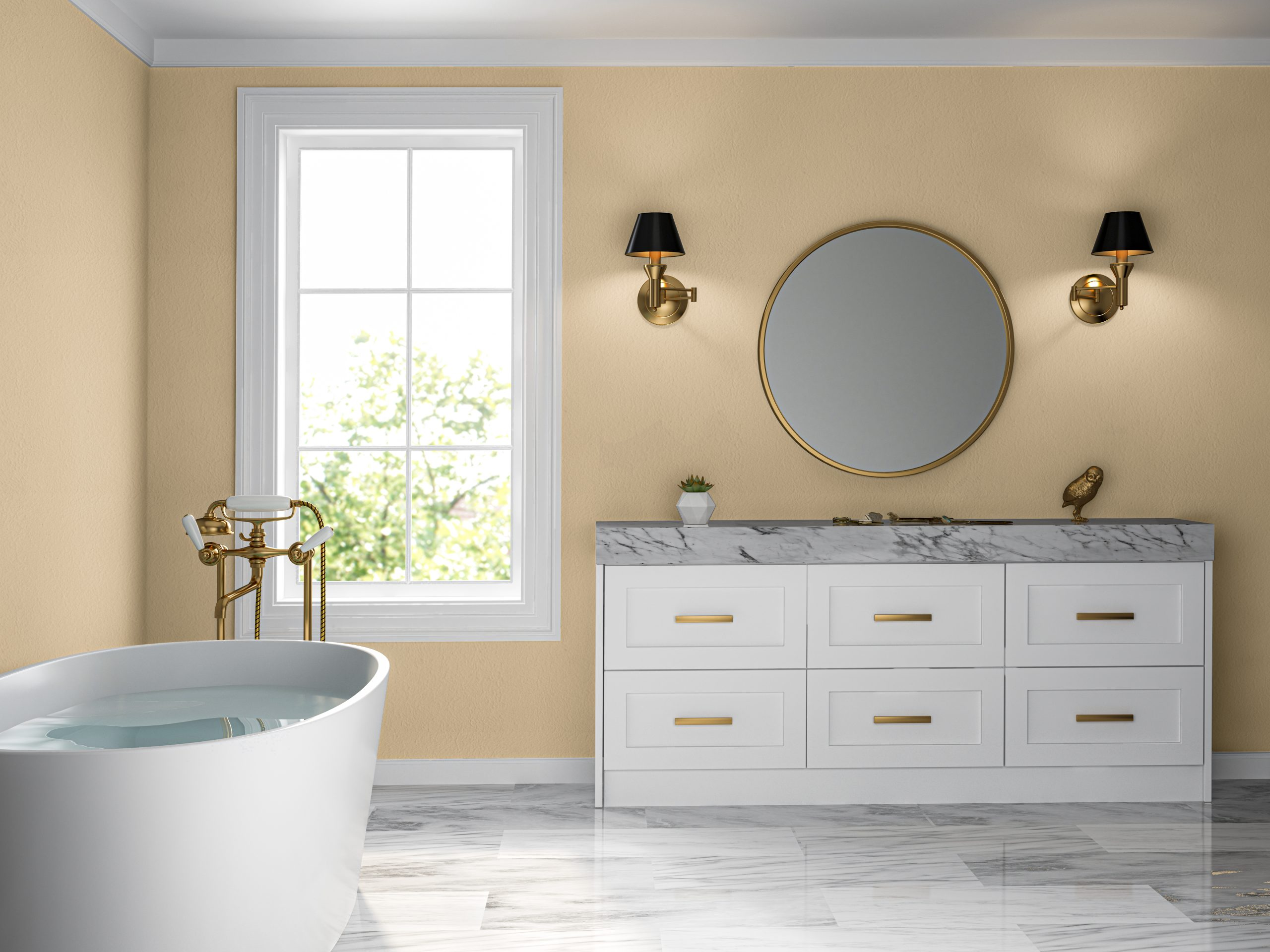 Interior bathroom classic style 3 D rendering