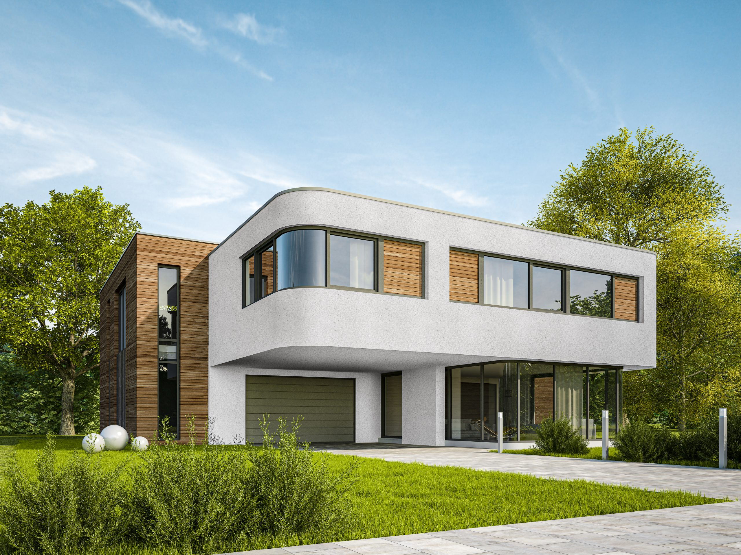 3D rendering of a modern villa with wooden elements